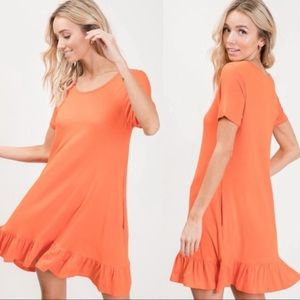 Tangerine Short Sleeve A-Line Dress